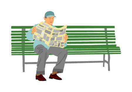 Pensioner read newspapers on the bench in park vector illustration isolated on white background. Senior relaxing outdoor. Retail old man. Grandpa veteran spend free time in public. Life insurance.