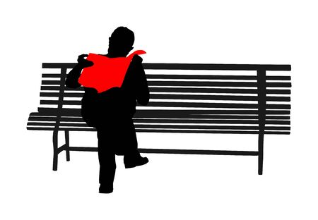 Pensioner reading newspapers on the bench in park vector silhouette isolated on white background. Senior lonely man relaxing outdoor. Retail mature veteran. Grandpa in public, free time, waiting lunch
