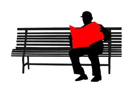 Pensioner read newspapers on the bench in park vector silhouette isolated on white background. Senior relaxing outdoor. Retail old man. Grandpa veteran spend free time in public. Life insurance.