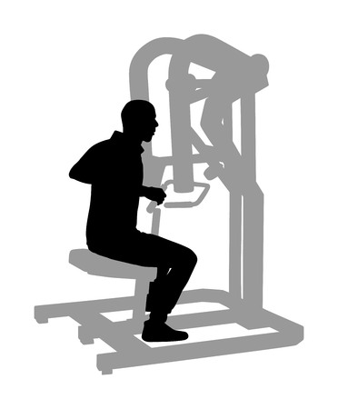 Sport man exercises in gym on fitness machine vector silhouette isolated on white. Multi functional gym equipment. Pressure for chest, legs, arms and shoulders. Pull down, stretching, worming activity