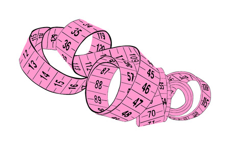 Pink measuring tape vector isolated on white background. Spiral fashion tape measure vector illustration. Construction, engineering, repair concept. Fashion work instrument. Sartorial meter. Ilustrace