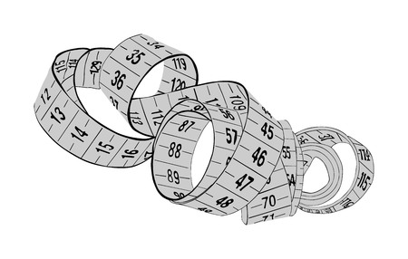 White measuring tape vector isolated on white background. Spiral fashion tape measure vector illustration. Construction, engineering, repair concept. Fashion work instrument. Sartorial meter. Ilustrace