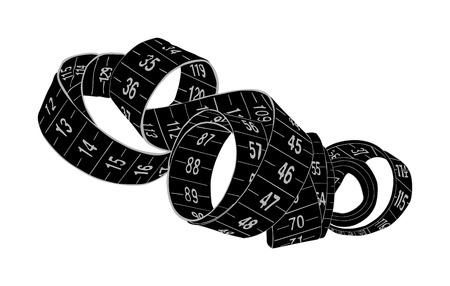Vector de cinta métrica negra aislado sobre fondo blanco. Ilustración de vector de cinta métrica de moda espiral. Construcción, ingeniería, concepto de reparación. Instrumento de trabajo de moda. Medidor de vestuario.