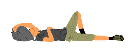 Homeless man sleeping on the street on the ground, vector illustration. Migrant from Middle East resting on the ground. Border situation, illegal emigration and social crises. Boy laying down with bag Illustration