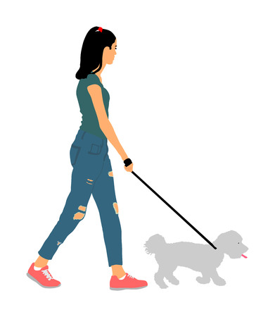 Owner handsome girl walking with dog vector illustration, isolated on white background. Maltese dog. Lady with cute puppy outdoor. Woman recreation walk with little friend after work. Relax time.