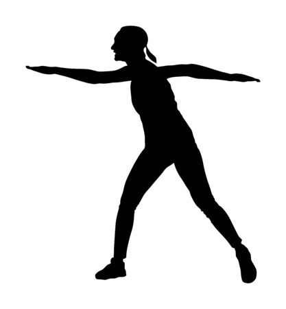 Fitness instructor training vector silhouette isolated on white background. Sport woman active in gym.  Athlete lady doing exercise. Warming up and workout activity. Иллюстрация
