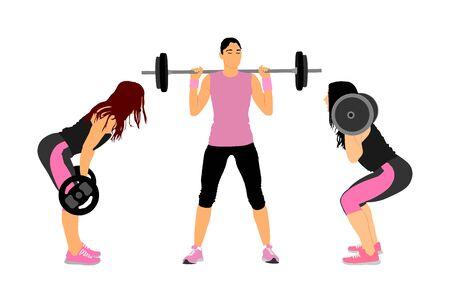 Culturismo sportivo. Giovane donna con bilanciere che flette i muscoli e fa lo squat con la spalla nell'illustrazione vettoriale della palestra. Sollevatore di pesi, allenamento per bodybuilder. Allenamento personal trainer. Esercizio da donna in forma Vettoriali