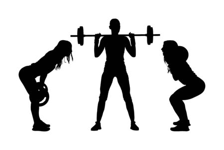 Sport bodybuilding. Young woman with barbell flexing muscles and making shoulder press squat in gym vector silhouette. Weightlifter, bodybuilder training. Personal trainer workout. Fit lady exercise