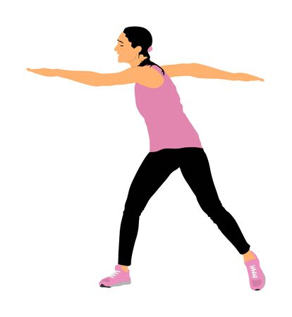 Fitness instructor training vector isolated on white background. Sport woman active in gym.  Athlete lady doing exercise. Warming up and workout activity. Иллюстрация