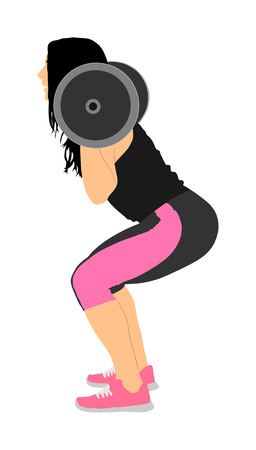 Sport bodybuilding. Young woman with barbell flexing muscles and making shoulder press squat in gym vector illustration. Weightlifter, bodybuilder training. Personal trainer workout. Fit lady exercise