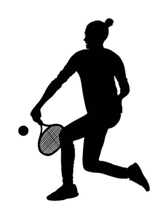 Woman tennis player vector silhouette isolated on white background. Sport tennis shadow isolated. Recreation pose. Girl play tennis. Active lady hobby training after work. Anti stress worming up .