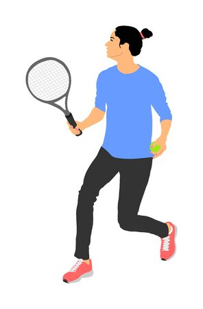 Woman tennis player vector isolated on white background. Sport tennis shadow isolated. Recreation pose. Girl play tennis. Active lady hobby training after work. Anti stress worming up .