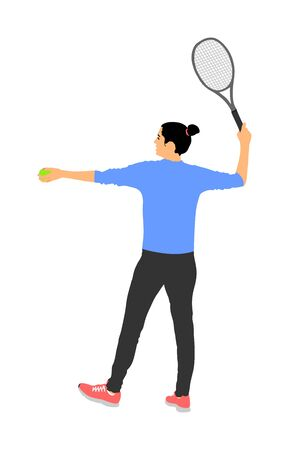 Woman tennis player vector isolated on white background. Sport tennis shadow isolated. Recreation pose. Girl play tennis. Active lady hobby training after work. Anti stress worming up . Ilustração Vetorial