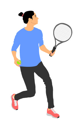 Woman tennis player vector illustration isolated on white background. Sport tennis girl in recreation pose. Girl play tennis. Active lady hobby training after work. Anti stress worming up . Vektorgrafik