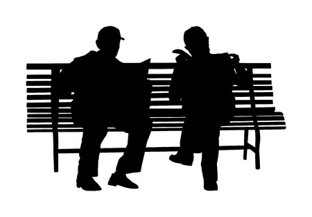 Two pensioners read newspapers on the bench in park. Vector silhouette isolated on white background. Senior friends relaxing outdoor. Retail old man. Grandpa and veteran neighbor speaking in public.