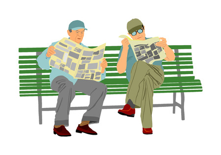 Two pensioners read newspapers on the bench in park. Vector illustration isolated on white background. Senior friends relaxing outdoor. Retail old man. Grandpa and veteran neighbor speaking in public.