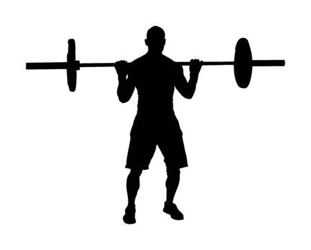 Levantador de pesas en la ilustración de silueta de vector de gimnasio aislado sobre fondo blanco. Haciendo ejercicio. Chico de deportes haciendo ejercicio con barra. Culturista de hombre en formación. Salud y Belleza. Entrenador personal