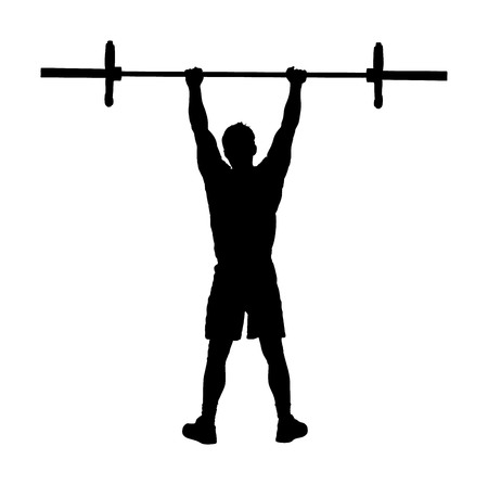 Weightlifter in gym vector silhouette illustration isolated on white background. Working out. Sports guy doing exercise with barbell. Man body builder in training. Health and fitness. Personal trainer