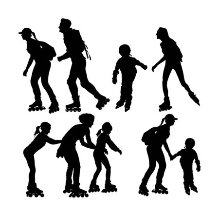 Roller skating couple in love enjoying in park vector silhouette isolated on white background. Skater boy riding wheels with skater girl. Woman and man family rollerblading with backpacks. Healthcare. Illusztráció