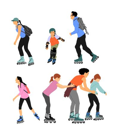 Roller skating couple in love enjoying in park vector isolated on white background. Skater boy riding wheels with skater girl. Woman and man family rollerblading with backpacks. Healthcare.