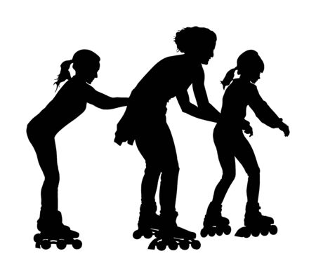 Roller skating girls with mother in park rollerblading vector silhouette isolated on background. In-line skating happy family on roller skating. Mothers day with kids outdoor after work activity