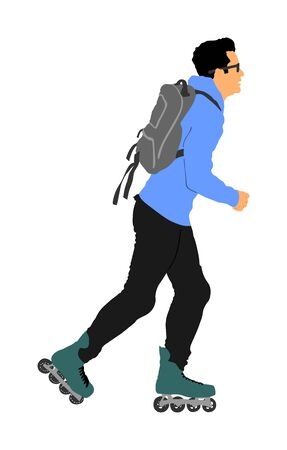 Roller skating man in park rollerblading vector isolated on white background. In-line skating. Skater boy riding wheels. Young man with backpack rollerblading on street. Outdoor activity.