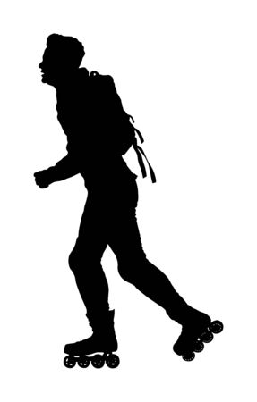 Roller skating man in park rollerblading vector silhouette isolated on white background. In-line skating. Skater boy riding wheels. Young man with backpack rollerblading on street. Outdoor activity.