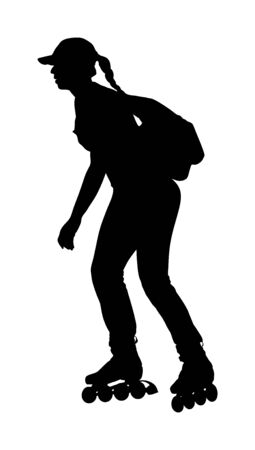 Roller skating girl in park rollerblading vector silhouette isolated on white background. In-line skating. Young woman with backpack on roller, sport action outdoor. Active life in park, health care.