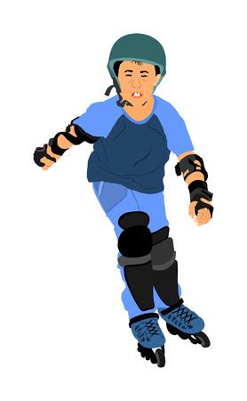 Rolschaatsen jongen in park skaten vectorillustratie geïsoleerd op een witte achtergrond. Inline skaten. Skater jongen rijden wielen. Gelukkig kind buiten. Vector Illustratie