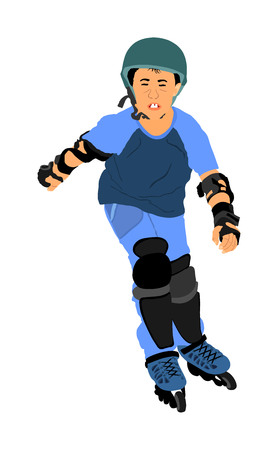 Roller skating boy in park rollerblading vector illustration isolated on white background. In-line skating. Skater boy riding wheels. Happy kid outdoor. Illustration