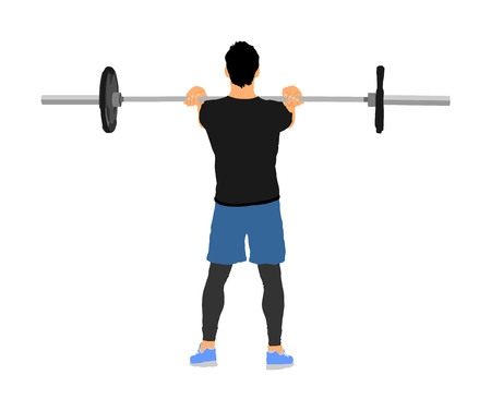 Weightlifter in gym vector illustration isolated on white background. Working out. Sports guy doing exercise with barbell. Sports man body builder in training. Health and fitness. Personal trainer. Stock Vector - 119486183