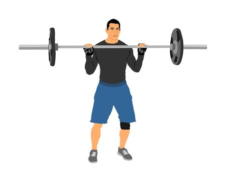 Weightlifter in gym vector illustration isolated on white background. Working out. Sports guy doing exercise with barbell. Sports man body builder in training. Health and fitness. Personal trainer. Ilustração