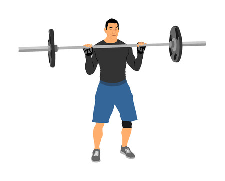 Weightlifter in gym vector illustration isolated on white background. Working out. Sports guy doing exercise with barbell. Sports man body builder in training. Health and fitness. Personal trainer. Illustration