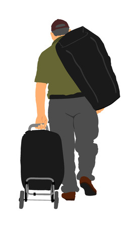 Man passenger with luggage walking at airport vector illustration. Traveler with bags go home. Man carry baggage. Father with heavy cargo load waiting taxi after holiday. Refugee on border migration.