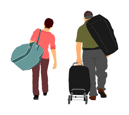 Passengers with luggage walking at airport vector. Travelers with bags go home. Man and woman carry baggage. Couple with heavy cargo load waiting taxi after holiday. Refugees on border migration