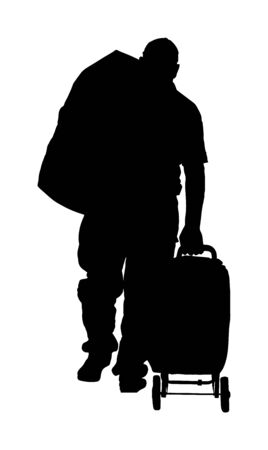 Passenger man with luggage walking at airport vector silhouette. Traveler with many bags go home. Man carry baggage. People with heavy cargo load waiting taxi after vacation holiday.