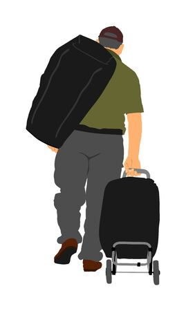 Passenger man with luggage walking at airport vector illustration. Traveler with many bags go home. Man carry baggage. People with heavy cargo load waiting taxi after vacation holiday.