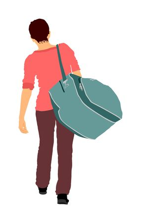 Passenger lady with luggage walking at airport vector illustration. Traveler with many bags go home. Woman carry baggage. People with heavy cargo load waiting taxi after vacation holiday.