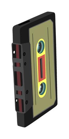 Vecteur de bande de musique isolé sur fond blanc. Cassette audio isolée sur fond blanc.