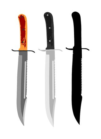 Military knife vector silhouette isolated on white background. Slice symbol. Aggressive survivor tool. Dirk sign. Bayonet vector. Hunting knives. Ilustração
