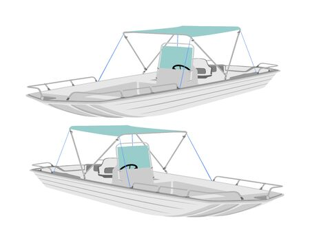 Fishing boat vector isolated on white background. Sport speed boat illustration for tourist entertainment.