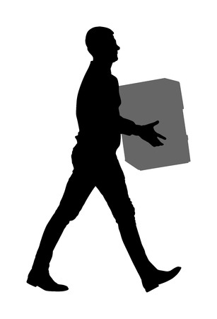 Delivery man carrying boxes of goods. Post man with package . Distribution and procurement. Boy holding heavy package for moving service. Handy man walking in move action. Hand transportation method. 版權商用圖片 - 123770292