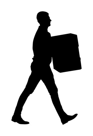Delivery man carrying boxes of goods. Post man with package . Distribution and procurement. Boy holding heavy package for moving service. Handy man walking in move action. Hand transportation method. 版權商用圖片 - 119486585