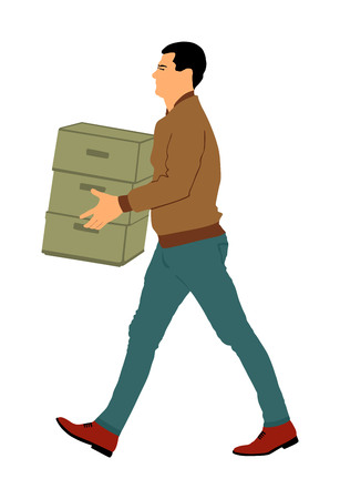 Delivery man carrying boxes of goods. Post man with package . Distribution and procurement. Boy holding heavy package for moving service. Handy man walking in move action. Hand transportation method. 版權商用圖片 - 119486586