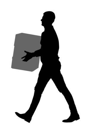 Delivery man carrying boxes of goods silhouette. Post man with package . Distribution and procurement. Boy holding heavy package for moving service. Handy man walking in move action. Hand transportation method. Ilustração