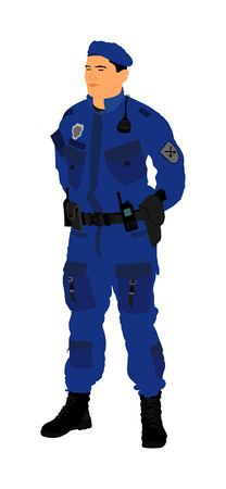 Special weapons and tactics (SWAT) team officer vector isolated on background. Special force police member. Gendarme, anti terrorism unit. Soldier demolishing demonstrations. Revolt against government