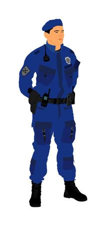 Ufficiale di polizia in servizio illustrazione vettoriale isolato su sfondo bianco. Uomo di polizia in ritratto uniforme. Tutela pubblica per i cittadini. Legge e ordine, giustizia per tutti. Membro della squadra antiterrorismo. Vettoriali