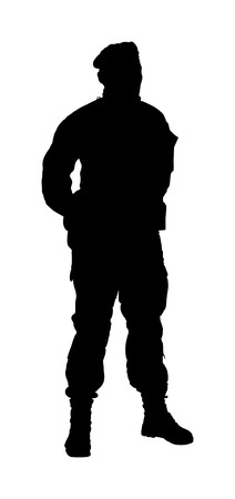 Special weapons and tactics (SWAT) team officer vector silhouette isolated on background. Special force police member. Gendarme, anti terrorism unit. Soldier demolishing demonstrations. Revolt against government
