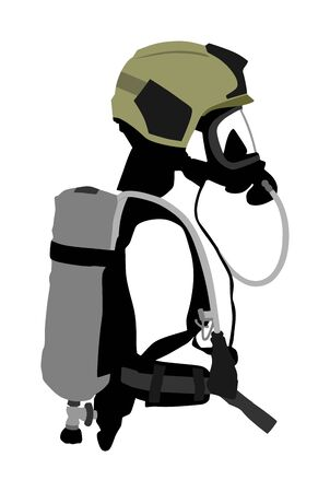 Fireman with helmet gas mask, protect glasses, bottle with oxygen vector isolated. Fire fighter protective gear. Bio hazard equipment against air contamination. Lifeguard rescue activity  Nuclear war