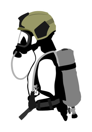 Fireman with helmet gas mask, protect glasses, bottle with oxygen vector isolated. Fire fighter protective gear. Bio hazard equipment against air contamination. Lifeguard rescue activity Nuclear war Vector Illustration